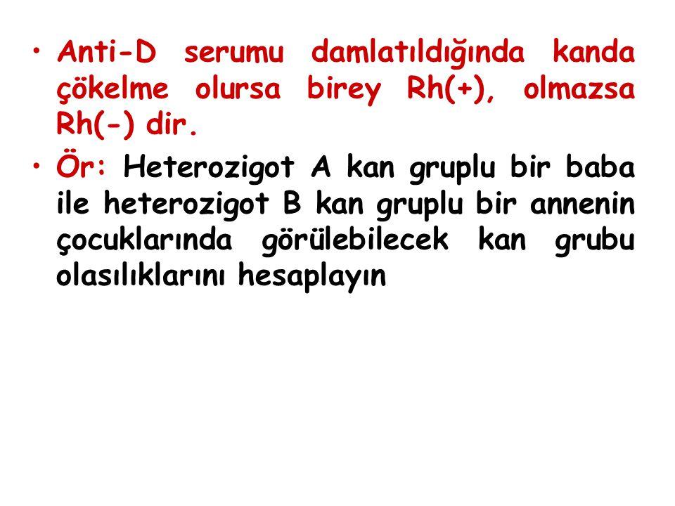 Anti-D serumu damlatıldığında kanda çökelme olursa birey Rh(+), olmazsa Rh(-) dir. Ör: Heterozigot A kan gruplu bir baba ile heterozigot B kan gruplu
