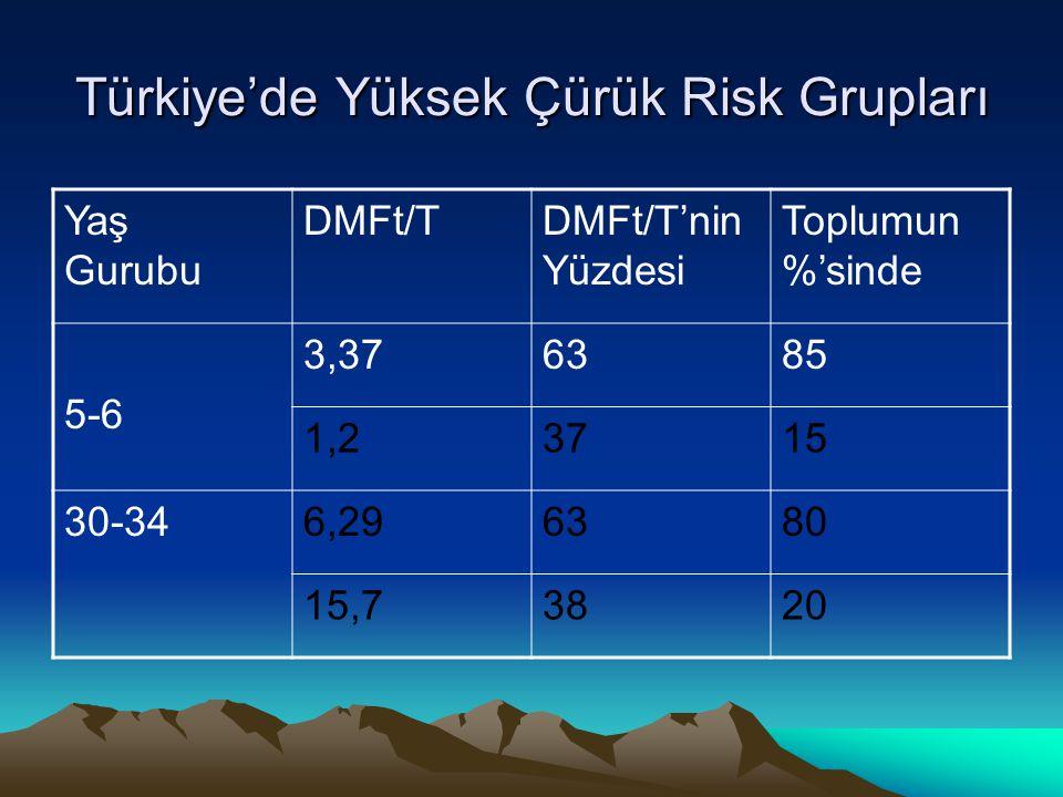 Türkiye'de Yüksek Çürük Risk Grupları Yaş Gurubu DMFt/TDMFt/T'nin Yüzdesi Toplumun %'sinde 5-6 3,376385 1,2373715 30-346,296380 15,73820