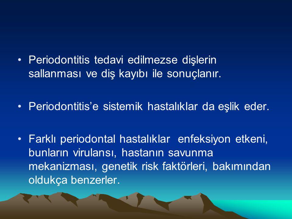 Periodontitis tedavi edilmezse dişlerin sallanması ve diş kayıbı ile sonuçlanır. Periodontitis'e sistemik hastalıklar da eşlik eder. Farklı periodonta