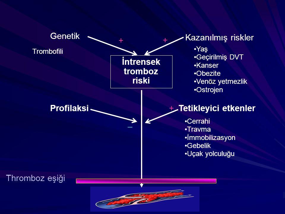 İntrensek tromboz riski Kazanılmış riskler Genetik + + Tetikleyici etkenlerProfilaksi+ – Thromboz eşiği Trombofili Yaş Geçirilmiş DVT Kanser Obezite ö