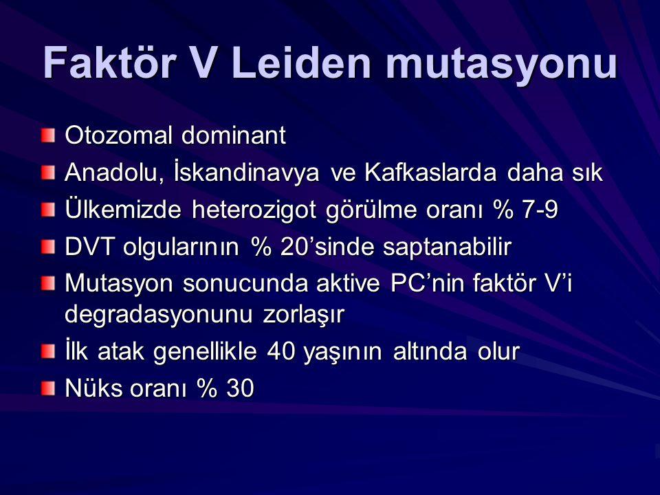 Faktör V Leiden mutasyonu Otozomal dominant Anadolu, İskandinavya ve Kafkaslarda daha sık Ülkemizde heterozigot görülme oranı % 7-9 DVT olgularının %