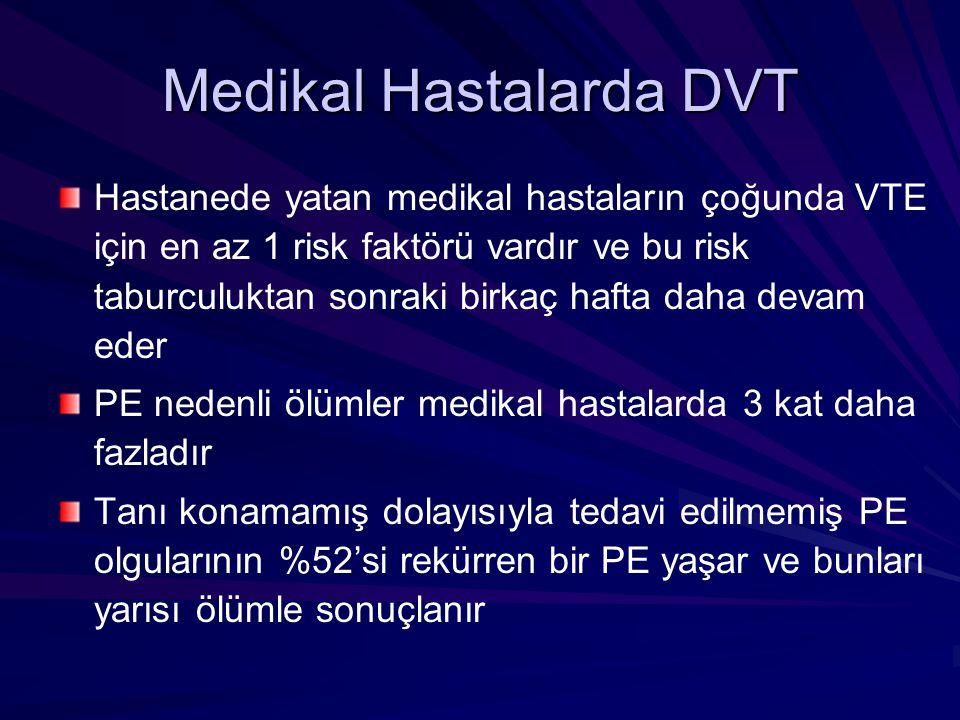 Medikal Hastalarda DVT Hastanede yatan medikal hastaların çoğunda VTE için en az 1 risk faktörü vardır ve bu risk taburculuktan sonraki birkaç hafta d