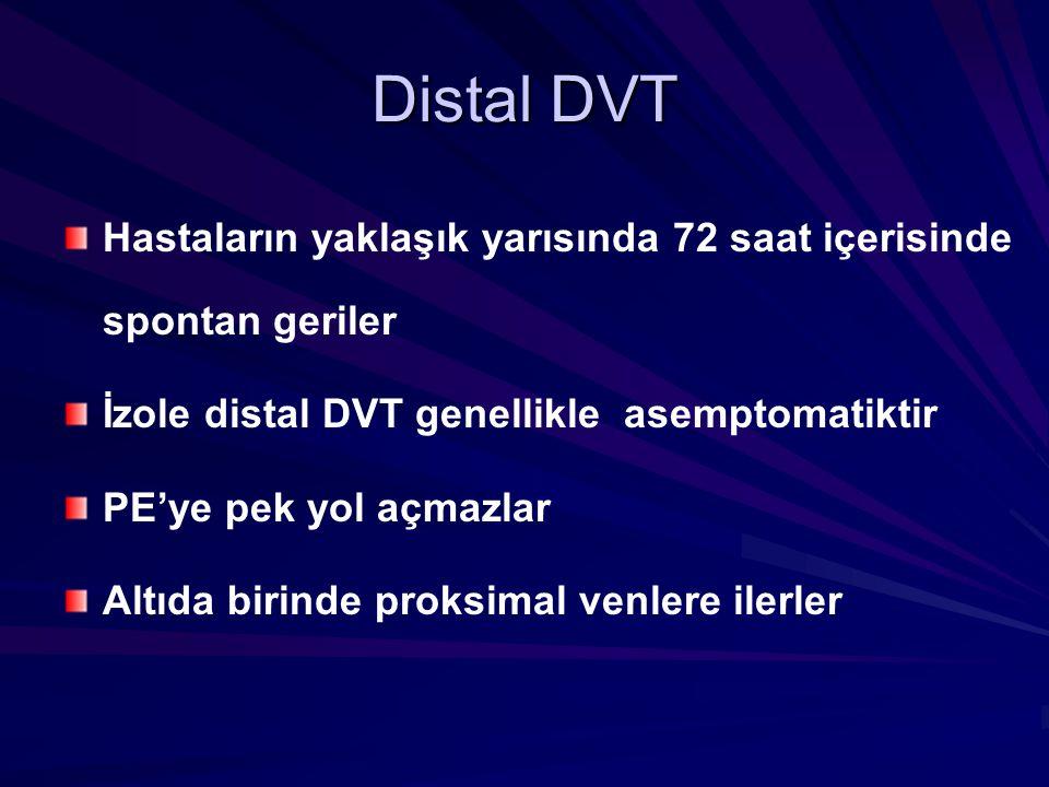 Distal DVT Hastaların yaklaşık yarısında 72 saat içerisinde spontan geriler İzole distal DVT genellikle asemptomatiktir PE'ye pek yol açmazlar Altıda