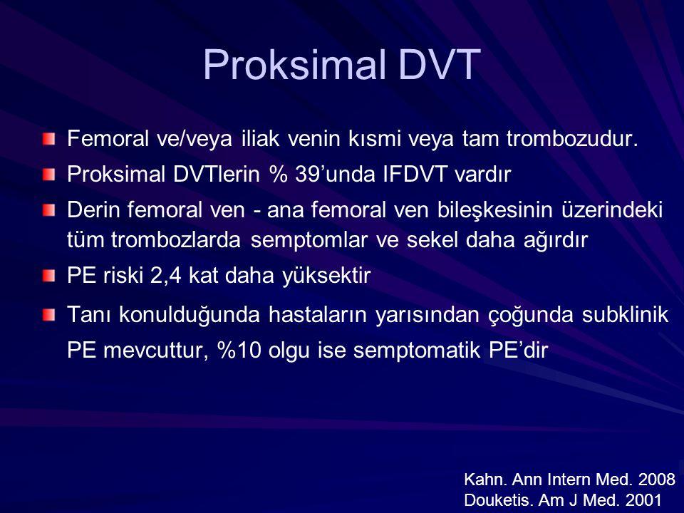 Proksimal DVT Femoral ve/veya iliak venin kısmi veya tam trombozudur. Proksimal DVTlerin % 39'unda IFDVT vardır Derin femoral ven - ana femoral ven bi