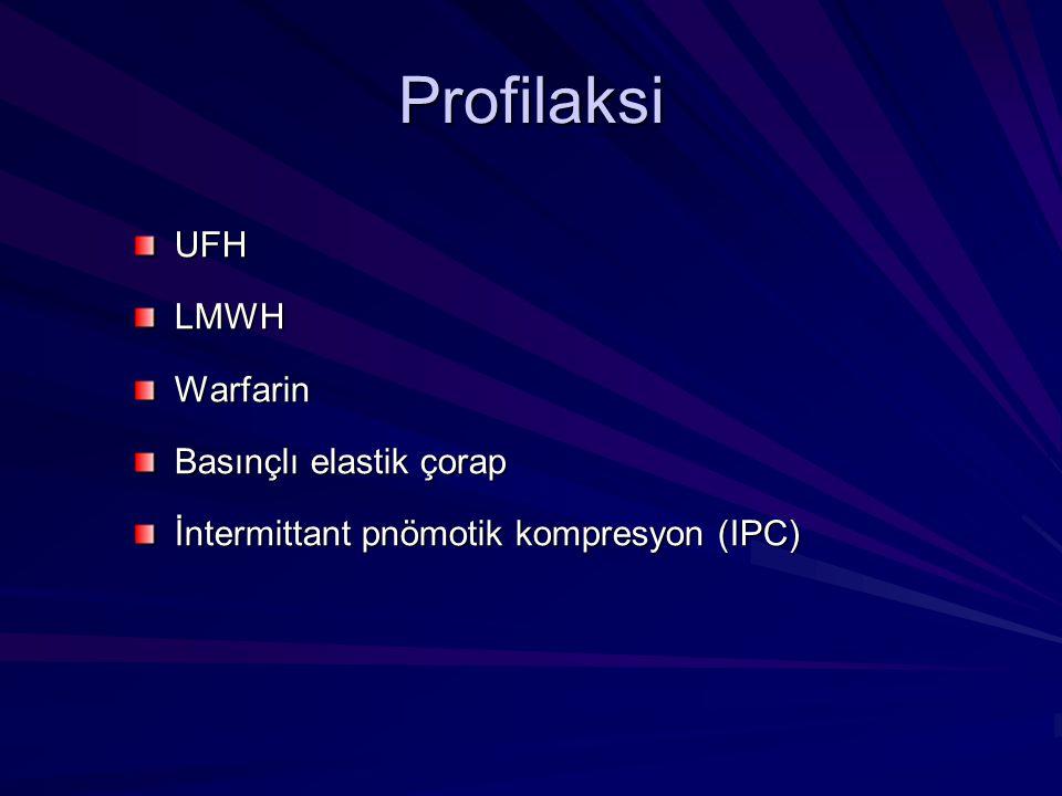 UFHLMWHWarfarin Basınçlı elastik çorap İntermittant pnömotik kompresyon (IPC) Profilaksi