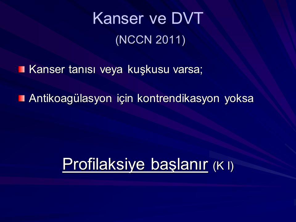 (NCCN 2011) Kanser ve DVT (NCCN 2011) Kanser tanısı veya kuşkusu varsa; Antikoagülasyon için kontrendikasyon yoksa Profilaksiye başlanır (K I)