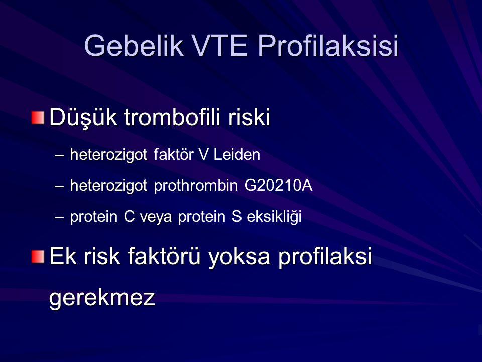 Gebelik VTE Profilaksisi Düşük trombofili riski –heterozigot –heterozigot faktör V Leiden –heterozigot –heterozigot prothrombin G20210A veya –protein