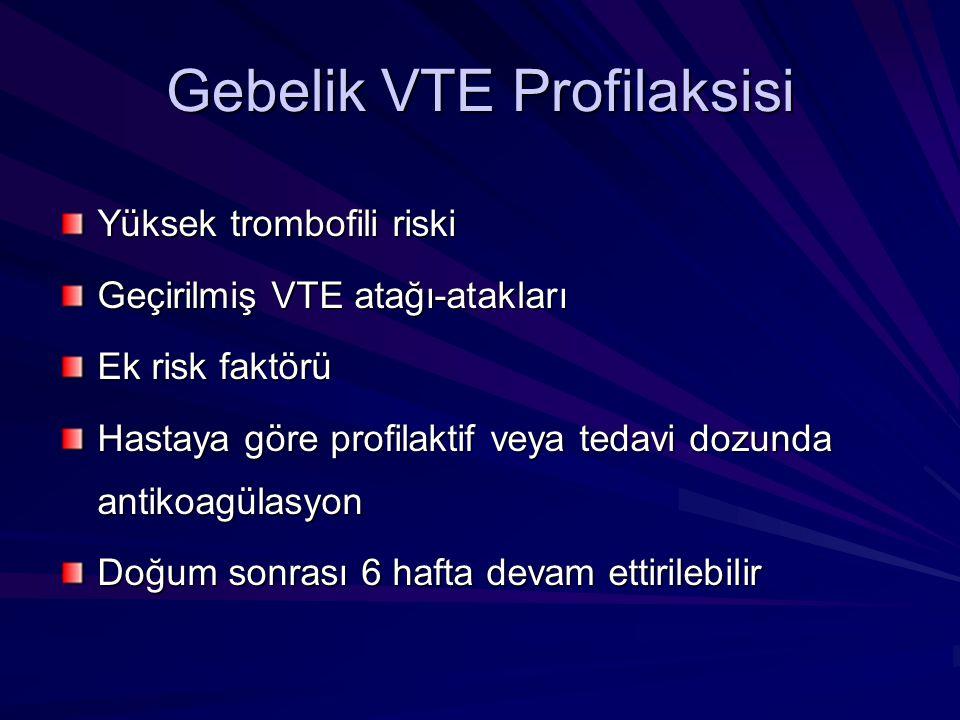 Gebelik VTE Profilaksisi Yüksek trombofili riski Geçirilmiş VTE atağı-atakları Ek risk faktörü Hastaya göre profilaktif veya tedavi dozunda antikoagül