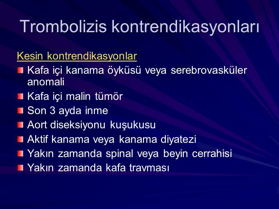 Trombolizis kontrendikasyonları Kesin kontrendikasyonlar Kafa içi kanama öyküsü veya serebrovasküler anomali Kafa içi malin tümör Son 3 ayda inme Aort