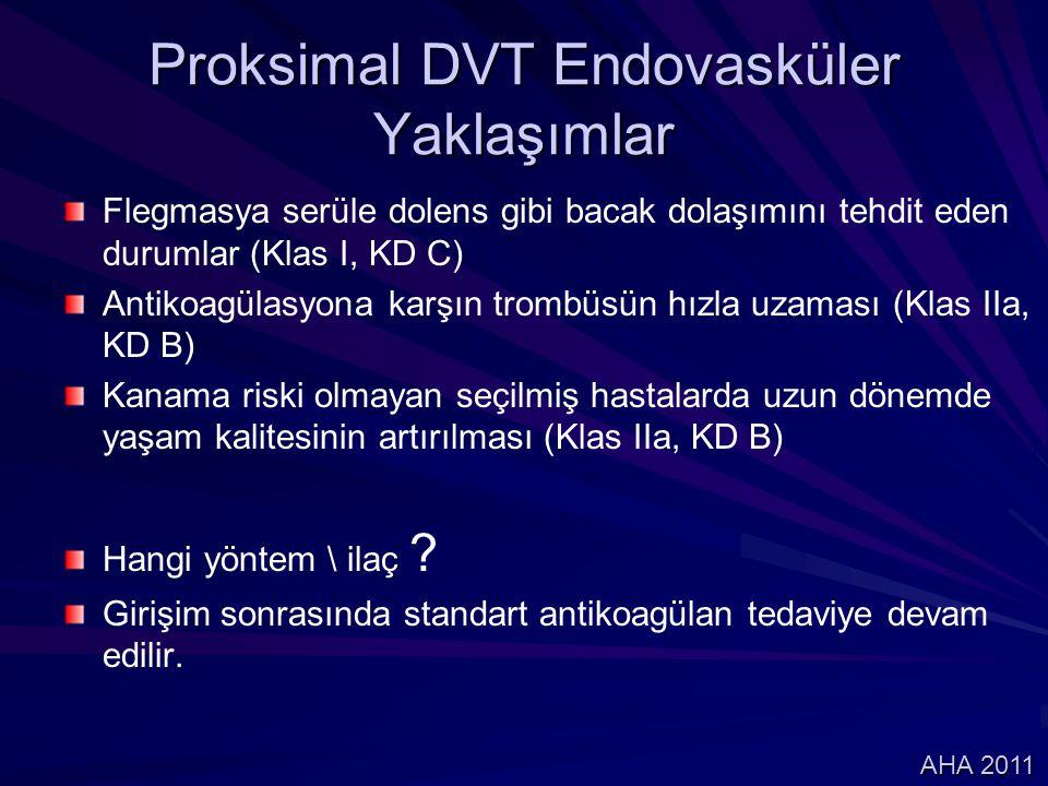 Flegmasya serüle dolens gibi bacak dolaşımını tehdit eden durumlar (Klas I, KD C) Antikoagülasyona karşın trombüsün hızla uzaması (Klas IIa, KD B) Kan