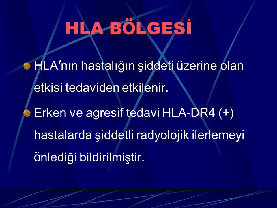 HLA B Ö LGESİ HLA ' nın hastalığın şiddeti ü zerine olan etkisi tedaviden etkilenir. Erken ve agresif tedavi HLA-DR4 (+) hastalarda şiddetli radyoloji