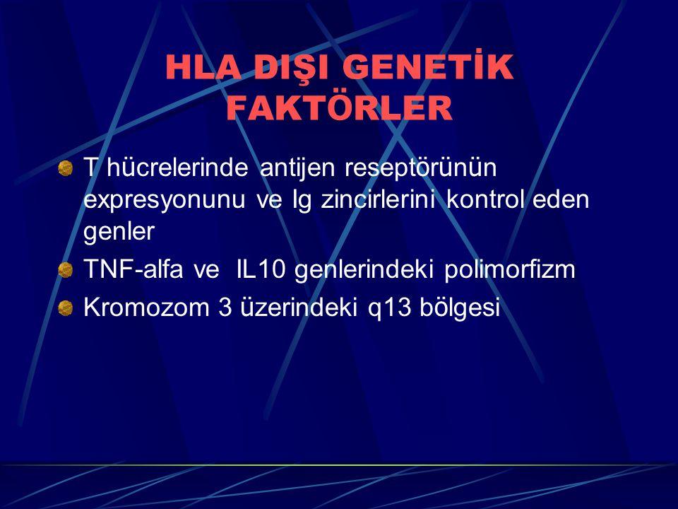 HLA DIŞI GENETİK FAKT Ö RLER T h ü crelerinde antijen resept ö r ü n ü n expresyonunu ve Ig zincirlerini kontrol eden genler TNF-alfa ve IL10 genlerindeki polimorfizm Kromozom 3 ü zerindeki q13 b ö lgesi