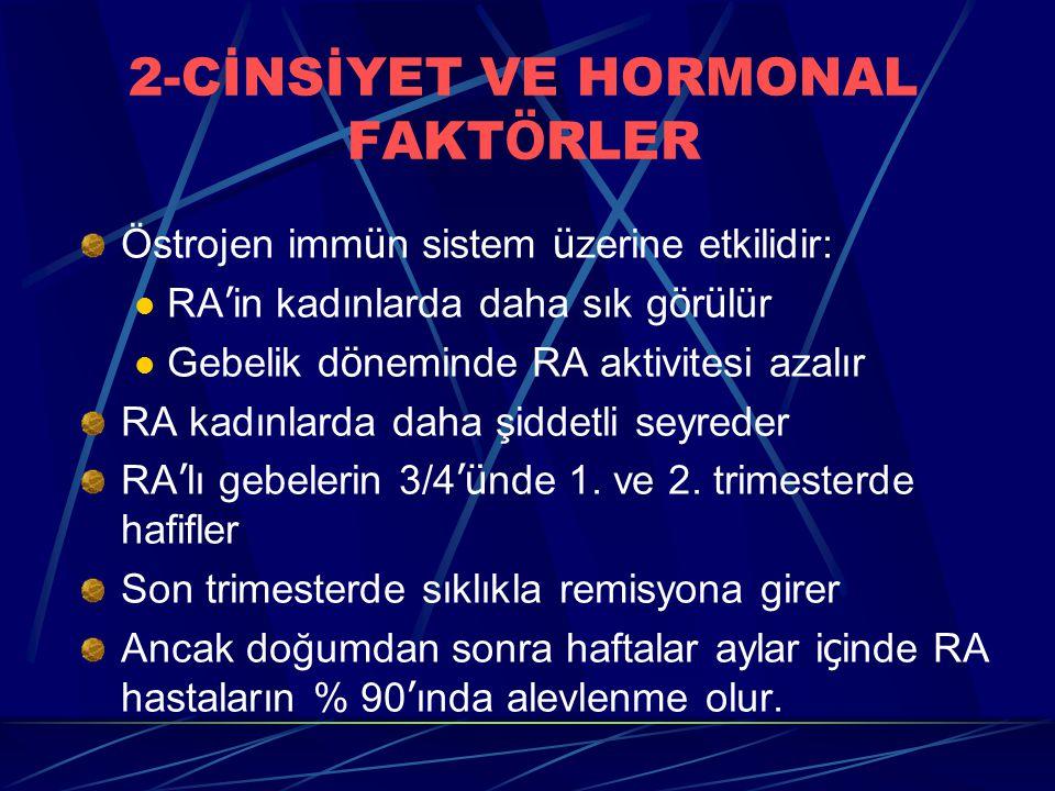 2-CİNSİYET VE HORMONAL FAKT Ö RLER Östrojen imm ü n sistem ü zerine etkilidir: RA ' in kadınlarda daha sık g ö r ü lür Gebelik d ö neminde RA aktivite