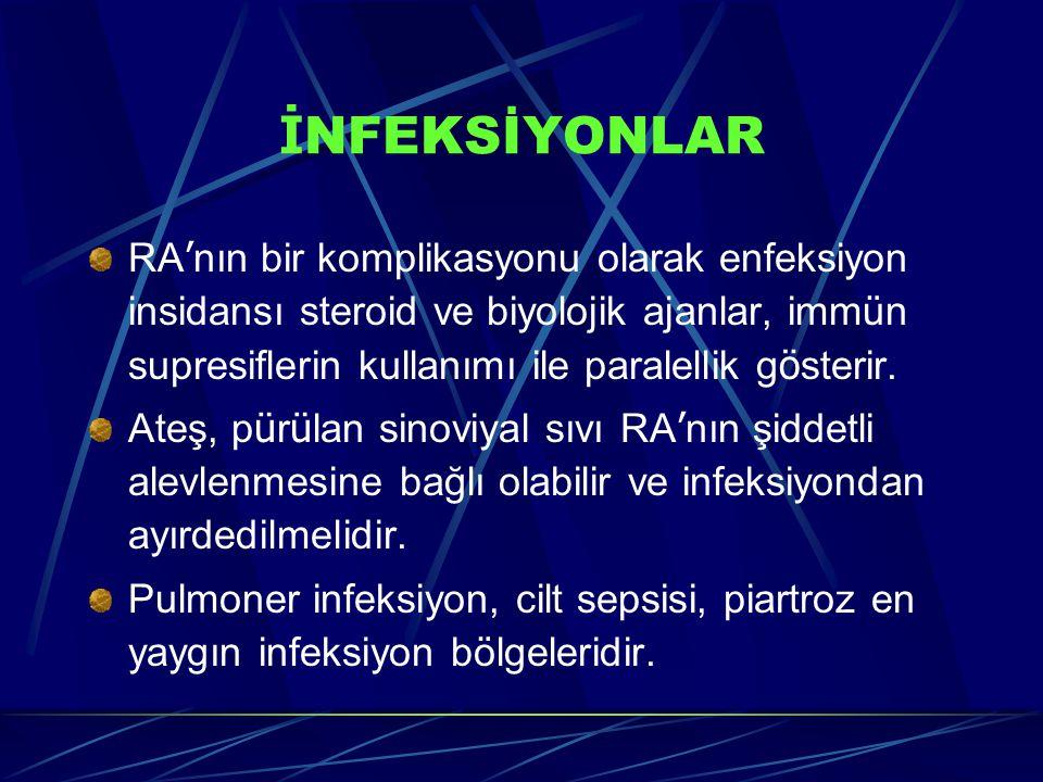 İ NFEKSİYONLAR RA ' nın bir komplikasyonu olarak enfeksiyon insidansı steroid ve biyolojik ajanlar, immün supresiflerin kullanımı ile paralellik g ö sterir.
