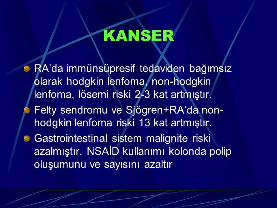KANSER RA'da immünsüpresif tedaviden bağımsız olarak hodgkin lenfoma, non-hodgkin lenfoma, lösemi riski 2-3 kat artmıştır. Felty sendromu ve Sjögren+R