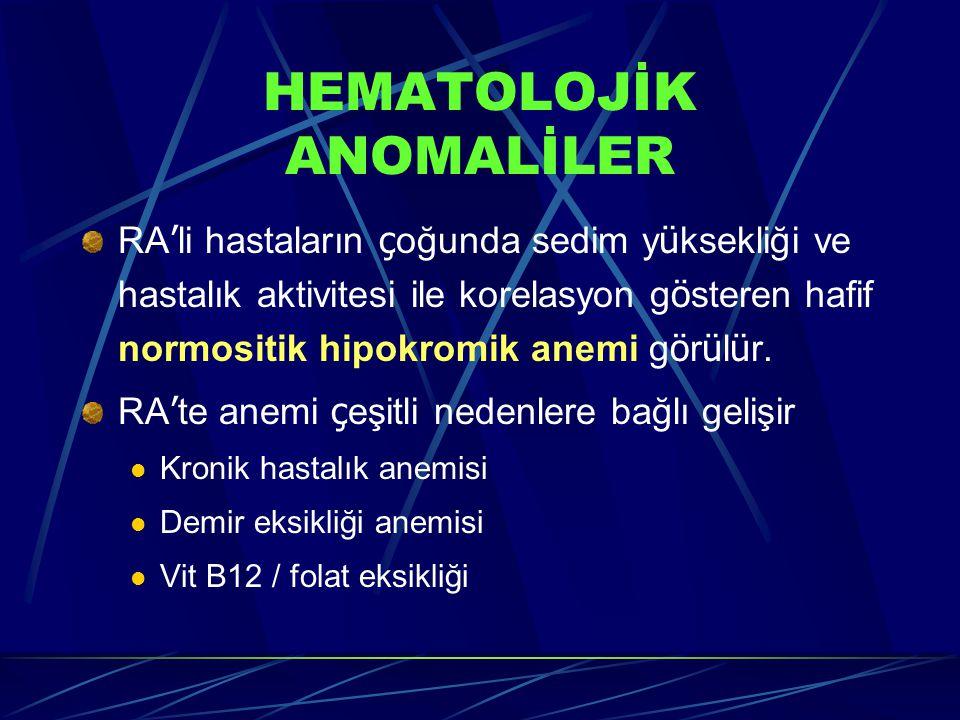 HEMATOLOJİK ANOMALİLER RA ' li hastaların ç oğunda sedim y ü ksekliği ve hastalık aktivitesi ile korelasyon g ö steren hafif normositik hipokromik anemi g ö r ü l ü r.