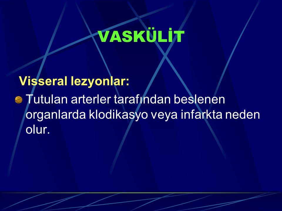 Visseral lezyonlar: Tutulan arterler tarafından beslenen organlarda klodikasyo veya infarkta neden olur.