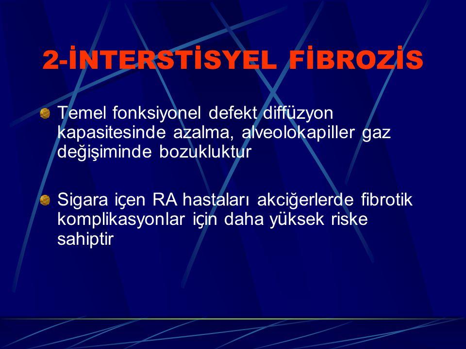 2-İNTERSTİSYEL FİBROZİS Temel fonksiyonel defekt diff ü zyon kapasitesinde azalma, alveolokapiller gaz değişiminde bozukluktur Sigara i ç en RA hastaları akciğerlerde fibrotik komplikasyonlar i ç in daha y ü ksek riske sahiptir