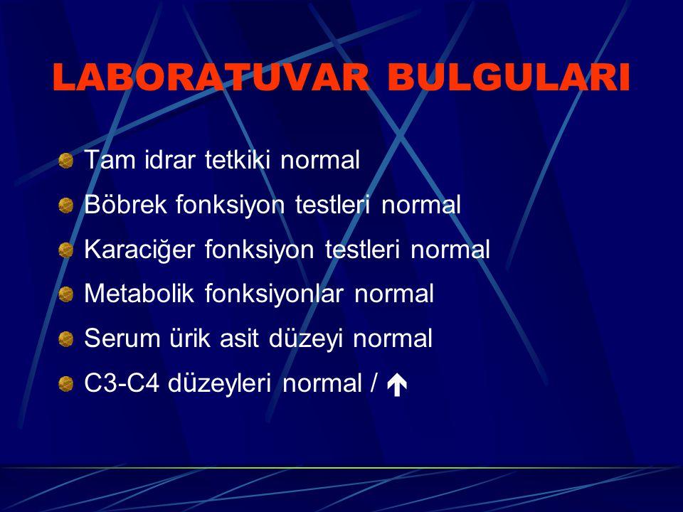 Tam idrar tetkiki normal Böbrek fonksiyon testleri normal Karaciğer fonksiyon testleri normal Metabolik fonksiyonlar normal Serum ürik asit düzeyi normal C3-C4 d ü zeyleri normal / 