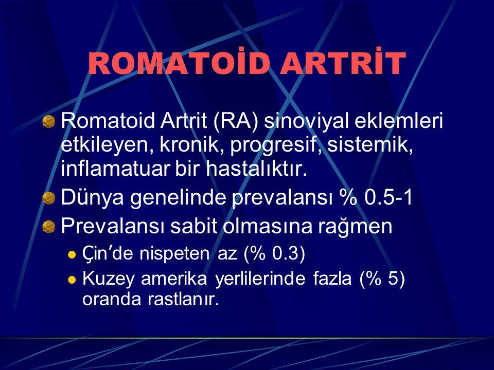 Romatoid Artrit (RA) sinoviyal eklemleri etkileyen, kronik, progresif, sistemik, inflamatuar bir hastalıktır. D ü nya genelinde prevalansı % 0.5-1 Pre