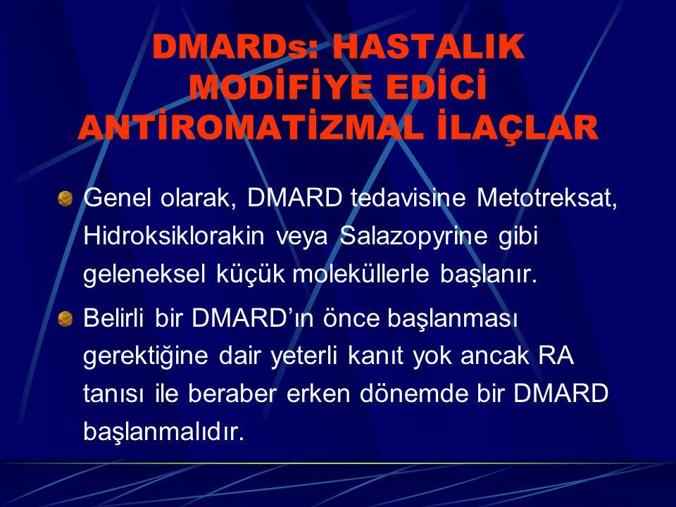 DMARDs: HASTALIK MODİFİYE EDİCİ ANTİROMATİZMAL İLAÇLAR Genel olarak, DMARD tedavisine Metotreksat, Hidroksiklorakin veya Salazopyrine gibi geleneksel küçük moleküllerle başlanır.