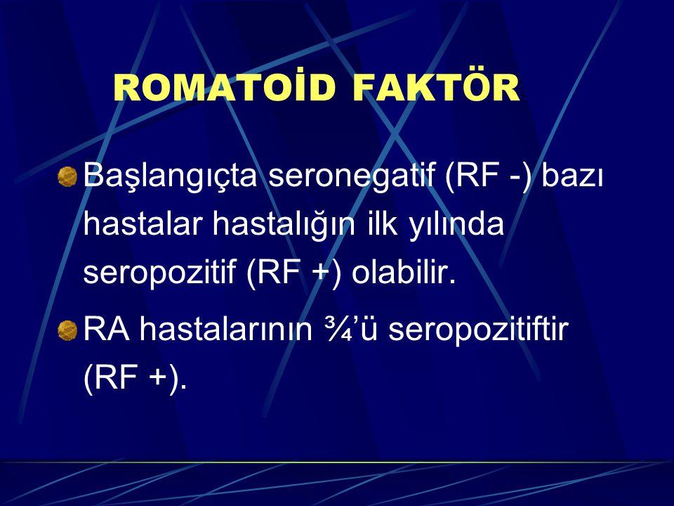 ROMATOİD FAKT Ö R Başlangıçta seronegatif (RF -) bazı hastalar hastalığın ilk yılında seropozitif (RF +) olabilir. RA hastalarının ¾'ü seropozitiftir