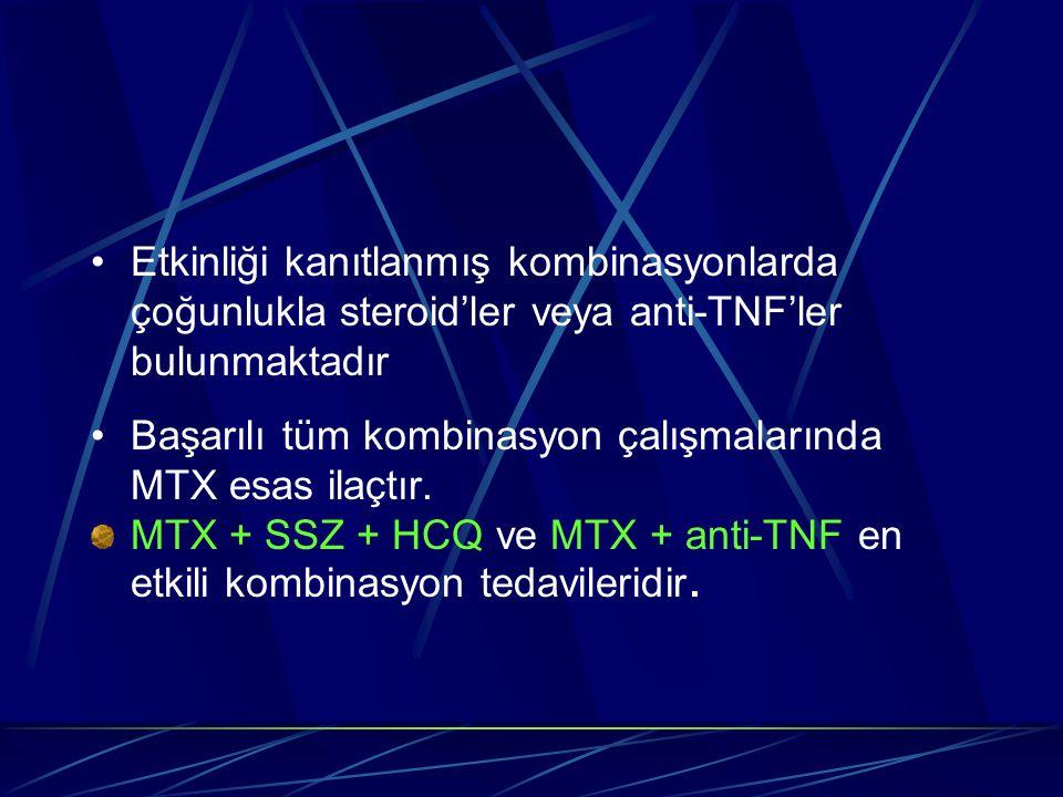 Etkinliği kanıtlanmış kombinasyonlarda çoğunlukla steroid'ler veya anti-TNF'ler bulunmaktadır Başarılı tüm kombinasyon çalışmalarında MTX esas ilaçtır.