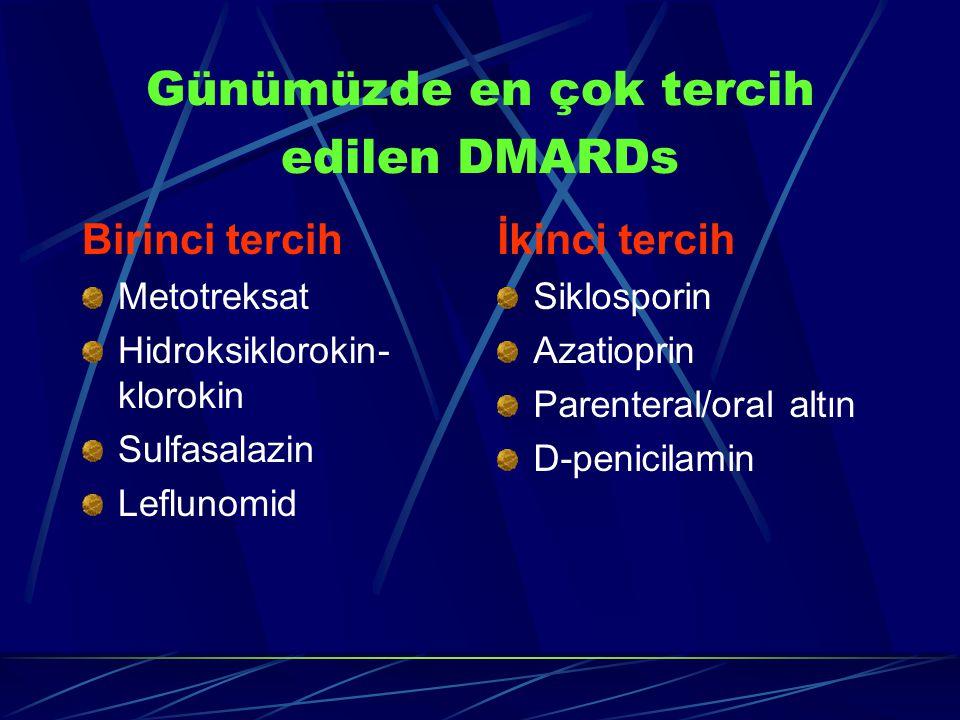 Günümüzde en çok tercih edilen DMARDs Birinci tercih Metotreksat Hidroksiklorokin- klorokin Sulfasalazin Leflunomid İkinci tercih Siklosporin Azatioprin Parenteral/oral altın D-penicilamin