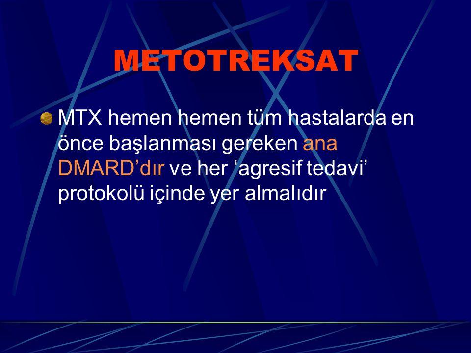 METOTREKSAT MTX hemen hemen tüm hastalarda en önce başlanması gereken ana DMARD'dır ve her 'agresif tedavi' protokolü içinde yer almalıdır