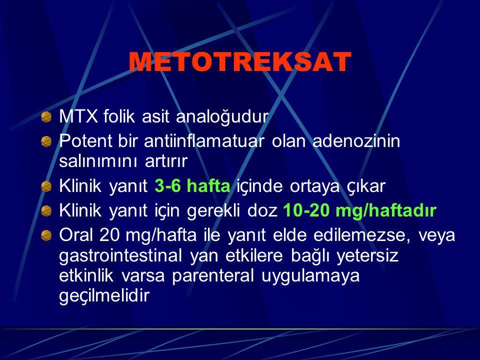 METOTREKSAT MTX folik asit analoğudur Potent bir antiinflamatuar olan adenozinin salınımını artırır Klinik yanıt 3-6 hafta i ç inde ortaya ç ıkar Klinik yanıt i ç in gerekli doz 10-20 mg/haftadır Oral 20 mg/hafta ile yanıt elde edilemezse, veya gastrointestinal yan etkilere bağlı yetersiz etkinlik varsa parenteral uygulamaya ge ç ilmelidir