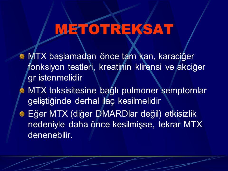 METOTREKSAT MTX başlamadan önce tam kan, karaciğer fonksiyon testleri, kreatinin klirensi ve akciğer gr istenmelidir MTX toksisitesine bağlı pulmoner semptomlar geliştiğinde derhal ilaç kesilmelidir Eğer MTX (diğer DMARDlar değil) etkisizlik nedeniyle daha önce kesilmişse, tekrar MTX denenebilir.