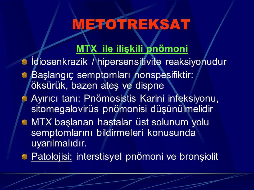 METOTREKSAT MTX ile ilişkili pn ö moni İdiosenkrazik / hipersensitivite reaksiyonudur Başlangı ç semptomları nonspesifiktir: ö ks ü r ü k, bazen ateş ve dispne Ayırıcı tanı: Pnömosistis Karini infeksiyonu, sitomegalovirüs pn ö monisi düşünülmelidir MTX başlanan hastalar üst solunum yolu semptomlarını bildirmeleri konusunda uyarılmalıdır.
