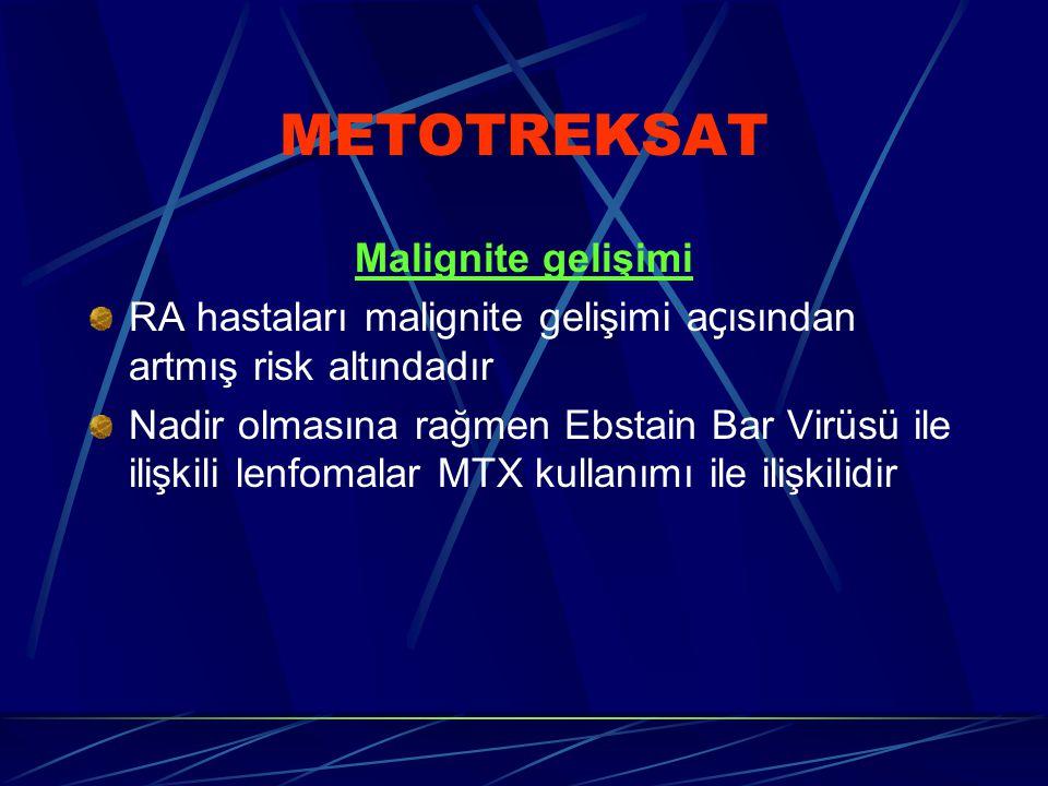 METOTREKSAT Malignite gelişimi RA hastaları malignite gelişimi a ç ısından artmış risk altındadır Nadir olmasına rağmen Ebstain Bar Virüsü ile ilişkili lenfomalar MTX kullanımı ile ilişkilidir