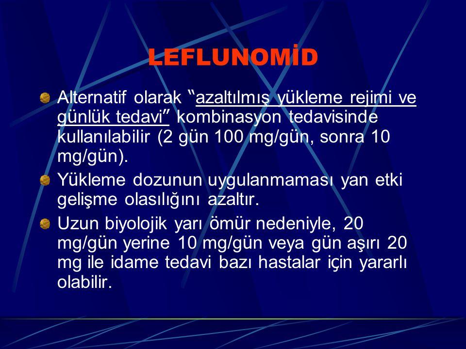 LEFLUNOMİD Alternatif olarak azaltılmış y ü kleme rejimi ve g ü nl ü k tedavi kombinasyon tedavisinde kullanılabilir (2 g ü n 100 mg/g ü n, sonra 10 mg/g ü n).