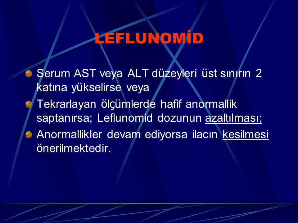 LEFLUNOMİD Serum AST veya ALT d ü zeyleri ü st sınırın 2 katına y ü kselirse veya Tekrarlayan ö l çü mlerde hafif anormallik saptanırsa; Leflunomid dozunun azaltılması; Anormallikler devam ediyorsa ilacın kesilmesi ö nerilmektedir.