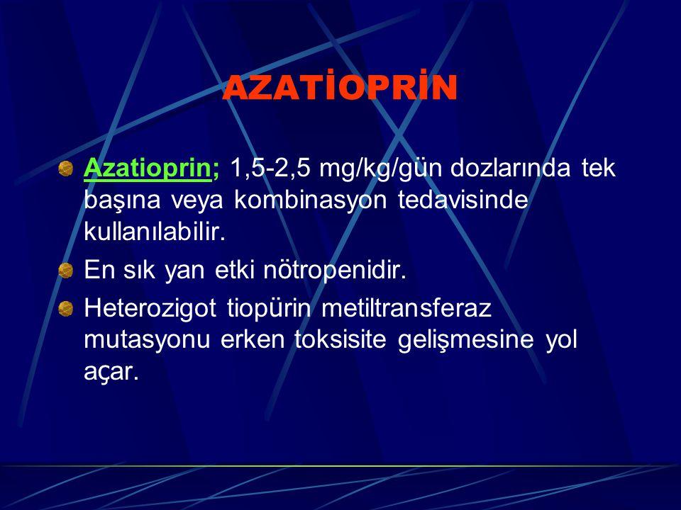 AZATİOPRİN Azatioprin; 1,5-2,5 mg/kg/g ü n dozlarında tek başına veya kombinasyon tedavisinde kullanılabilir. En sık yan etki n ö tropenidir. Heterozi