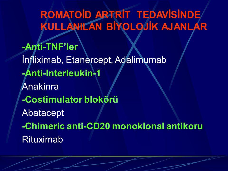 ROMATOİD ARTRİT TEDAVİSİNDE KULLANILAN BİYOLOJİK AJANLAR -Anti-TNF'ler İnfliximab, Etanercept, Adalimumab -Anti-Interleukin-1 Anakinra -Costimulator b