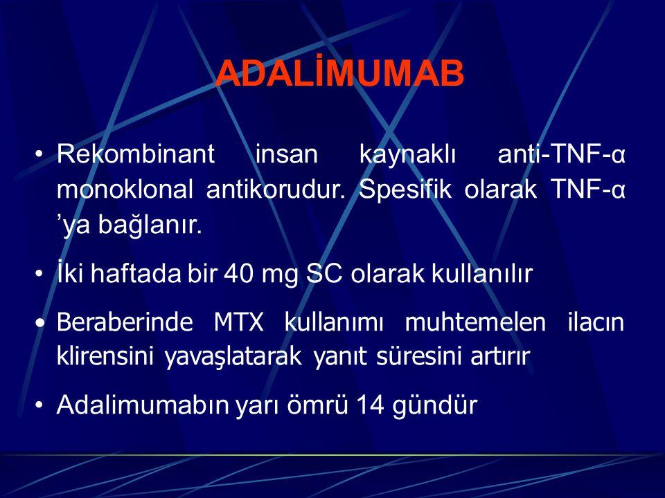 ADALİMUMAB Rekombinant insan kaynaklı anti-TNF- α monoklonal antikorudur. Spesifik olarak TNF- α 'ya bağlanır. İki haftada bir 40 mg SC olarak kullanı