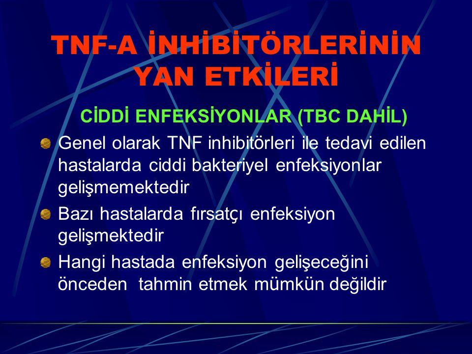 TNF-A İNHİBİTÖRLERİNİN YAN ETKİLERİ CİDDİ ENFEKSİYONLAR (TBC DAHİL) Genel olarak TNF inhibit ö rleri ile tedavi edilen hastalarda ciddi bakteriyel enf
