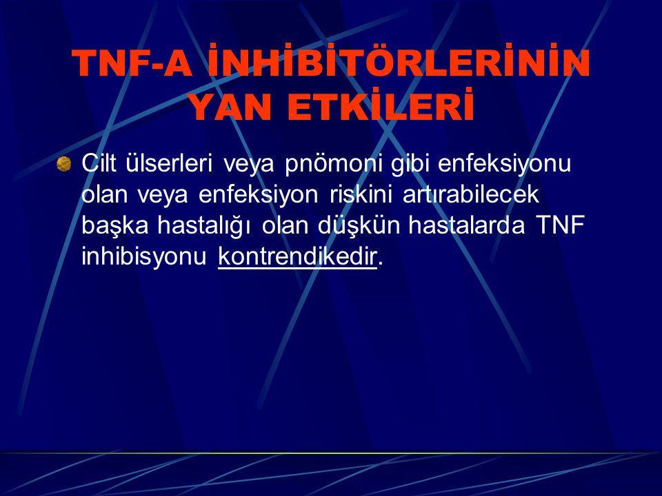 TNF-A İNHİBİTÖRLERİNİN YAN ETKİLERİ Cilt ü lserleri veya pn ö moni gibi enfeksiyonu olan veya enfeksiyon riskini artırabilecek başka hastalığı olan d ü şk ü n hastalarda TNF inhibisyonu kontrendikedir.