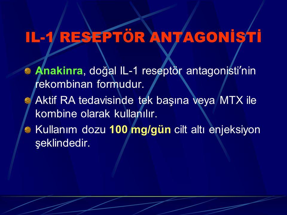 IL-1 RESEPT Ö R ANTAGONİSTİ Anakinra, doğal IL-1 reseptör antagonisti ' nin rekombinan formudur. Aktif RA tedavisinde tek başına veya MTX ile kombine