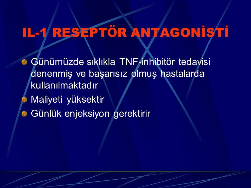 IL-1 RESEPT Ö R ANTAGONİSTİ G ü n ü m ü zde sıklıkla TNF-inhibit ö r tedavisi denenmiş ve başarısız olmuş hastalarda kullanılmaktadır Maliyeti y ü ksektir G ü nl ü k enjeksiyon gerektirir