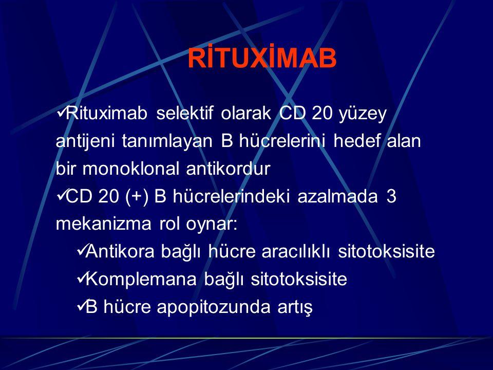 RİTUXİMAB Rituximab selektif olarak CD 20 yüzey antijeni tanımlayan B hücrelerini hedef alan bir monoklonal antikordur CD 20 (+) B hücrelerindeki azal