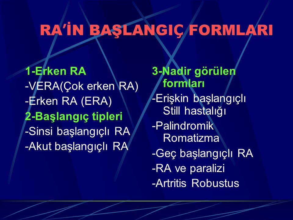 RA ' İN BAŞLANGI Ç FORMLARI 1-Erken RA -VERA(Çok erken RA) -Erken RA (ERA) 2-Başlangıç tipleri -Sinsi başlangıçlı RA -Akut başlangıçlı RA 3-Nadir görülen formları -Erişkin başlangıçlı Still hastalığı -Palindromik Romatizma -Geç başlangıçlı RA -RA ve paralizi -Artritis Robustus
