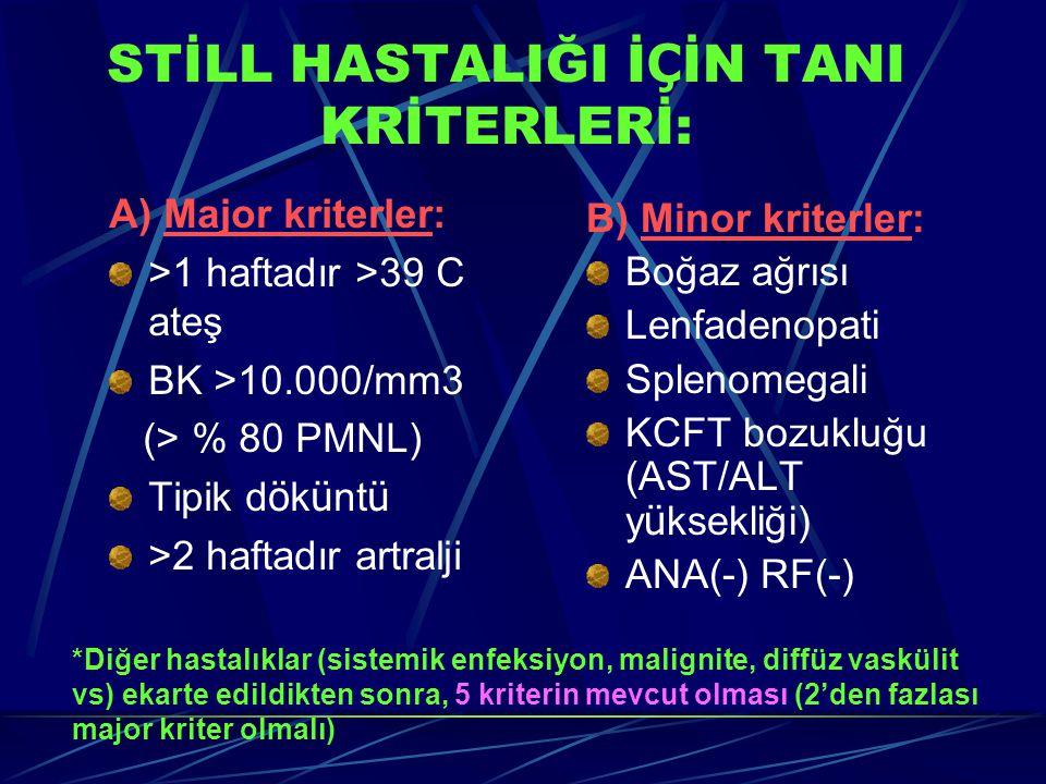 STİLL HASTALIĞI İ Ç İN TANI KRİTERLERİ: A) Major kriterler: >1 haftadır >39 C ateş BK >10.000/mm3 (> % 80 PMNL) Tipik d ö k ü nt ü >2 haftadır artralj