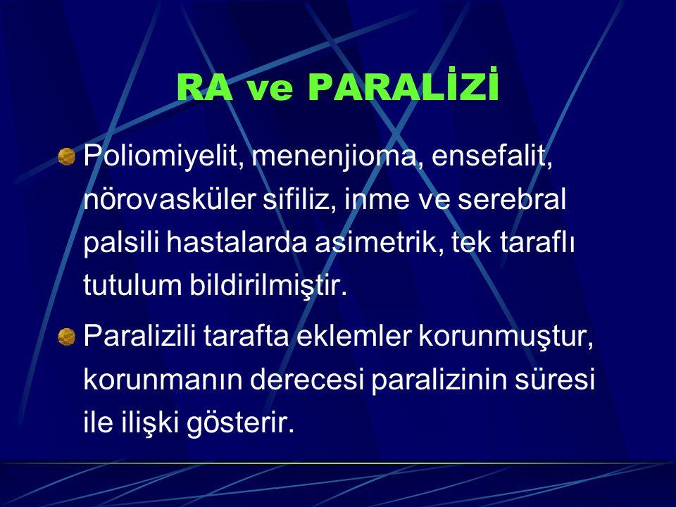 RA ve PARALİZİ Poliomiyelit, menenjioma, ensefalit, n ö rovask ü ler sifiliz, inme ve serebral palsili hastalarda asimetrik, tek taraflı tutulum bildirilmiştir.