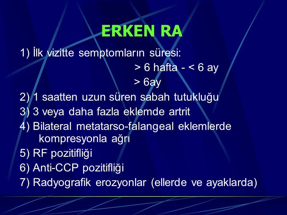 1) İlk vizitte semptomların s ü resi: > 6 hafta - < 6 ay > 6ay 2) 1 saatten uzun s ü ren sabah tutukluğu 3) 3 veya daha fazla eklemde artrit 4) Bilateral metatarso-falangeal eklemlerde kompresyonla ağrı 5) RF pozitifliği 6) Anti-CCP pozitifliği 7) Radyografik erozyonlar (ellerde ve ayaklarda) ERKEN RA