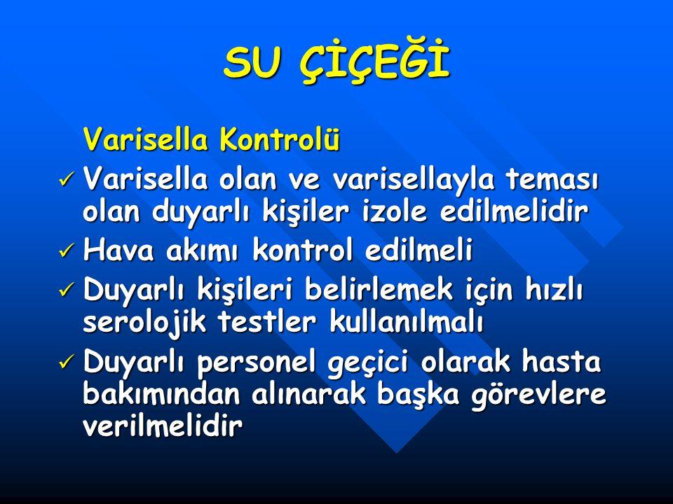 SU ÇİÇEĞİ Varisella Kontrolü Varisella olan ve varisellayla teması olan duyarlı kişiler izole edilmelidir Varisella olan ve varisellayla teması olan d
