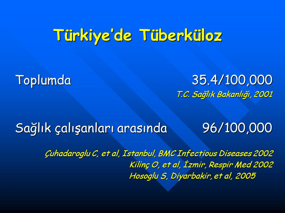 Türkiye'de Tüberküloz Toplumda 35.4/100,000 T.C. Sağlık Bakanlığı, 2001 T.C. Sağlık Bakanlığı, 2001 Sağlık çalışanları arasında 96/100,000 Çuhadaroglu