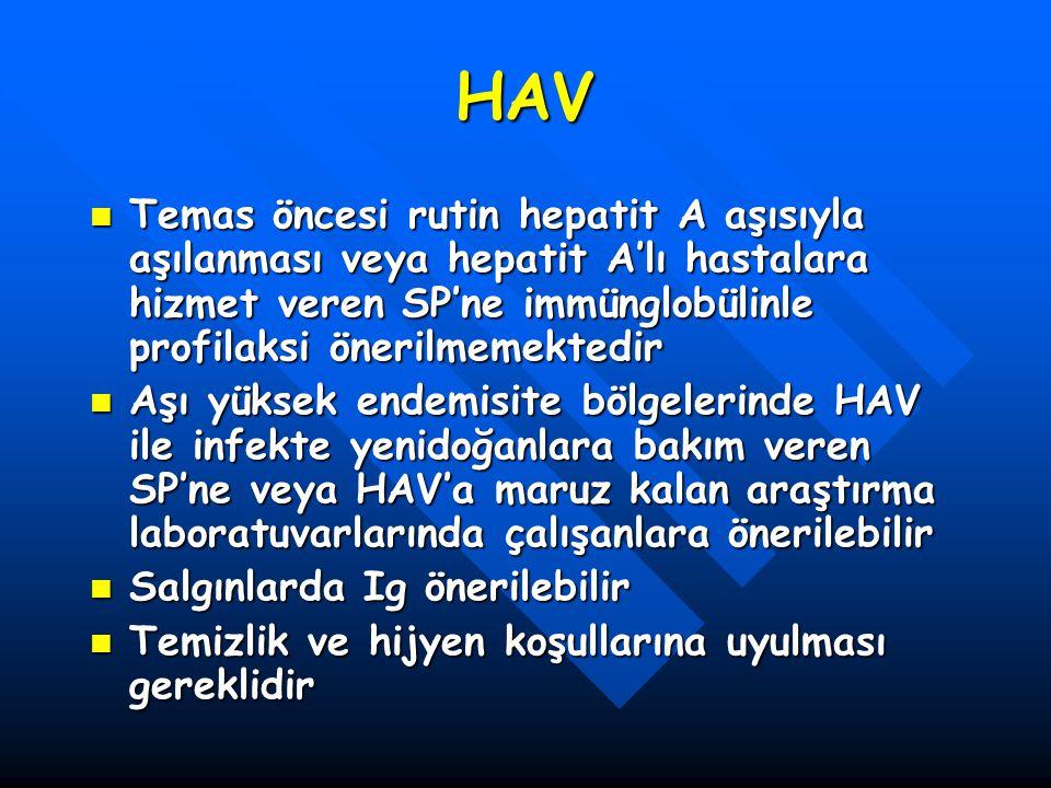 HAV Temas öncesi rutin hepatit A aşısıyla aşılanması veya hepatit A'lı hastalara hizmet veren SP'ne immünglobülinle profilaksi önerilmemektedir Temas